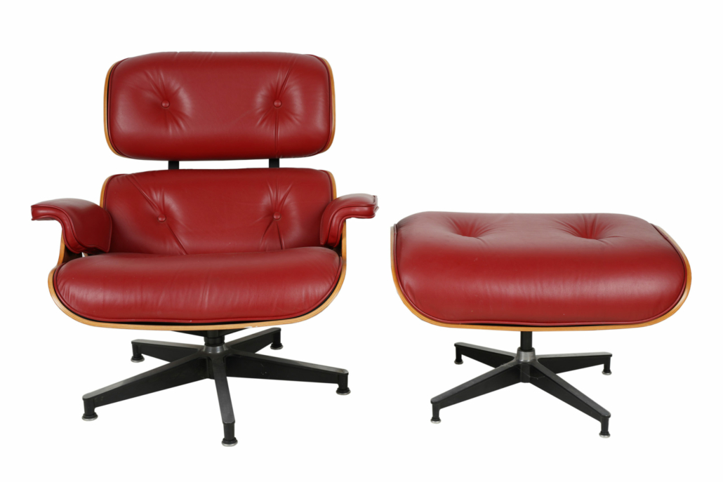 A Charles and Ray Eames lounge chair and ottoman, estimated at $1,000-$1,500