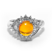 Platinum, fire opal, and diamond ring
