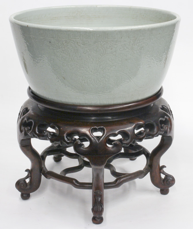 Large 16th or 17th century celadon porcelain fish bowl, estimated at $25,000-$35,000