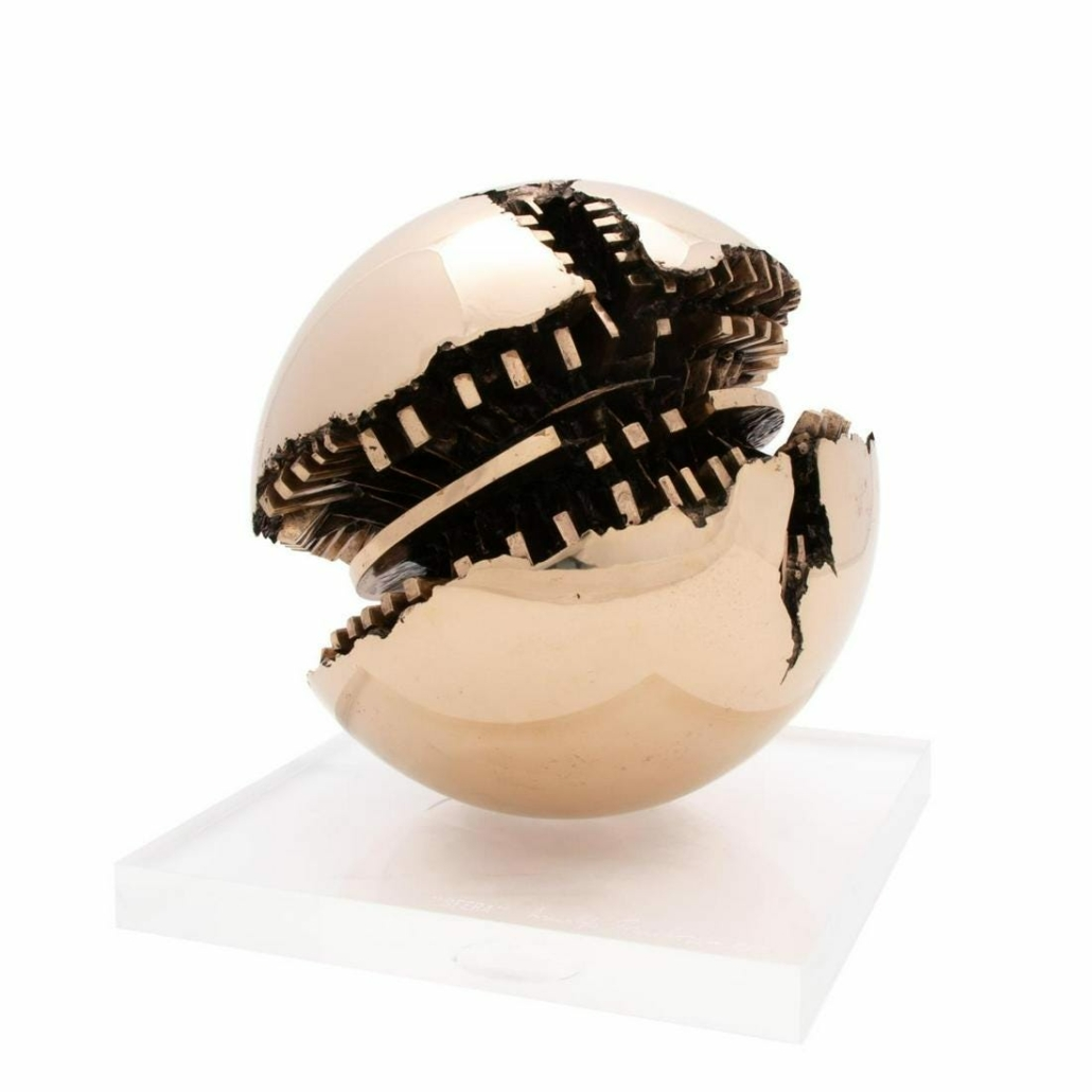 'Sfera,' limited edition bronze by Arnaldo Pomodoro, which sold for $186,000