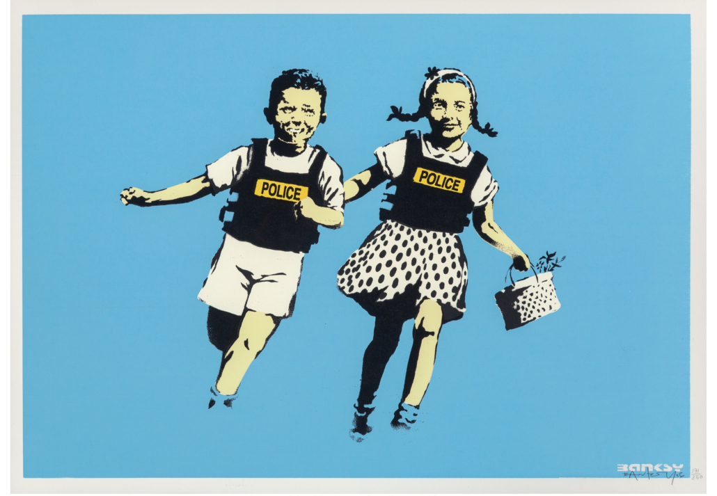 Banksy, 'Jack and Jill (Police Kids),' which sold for $87,500