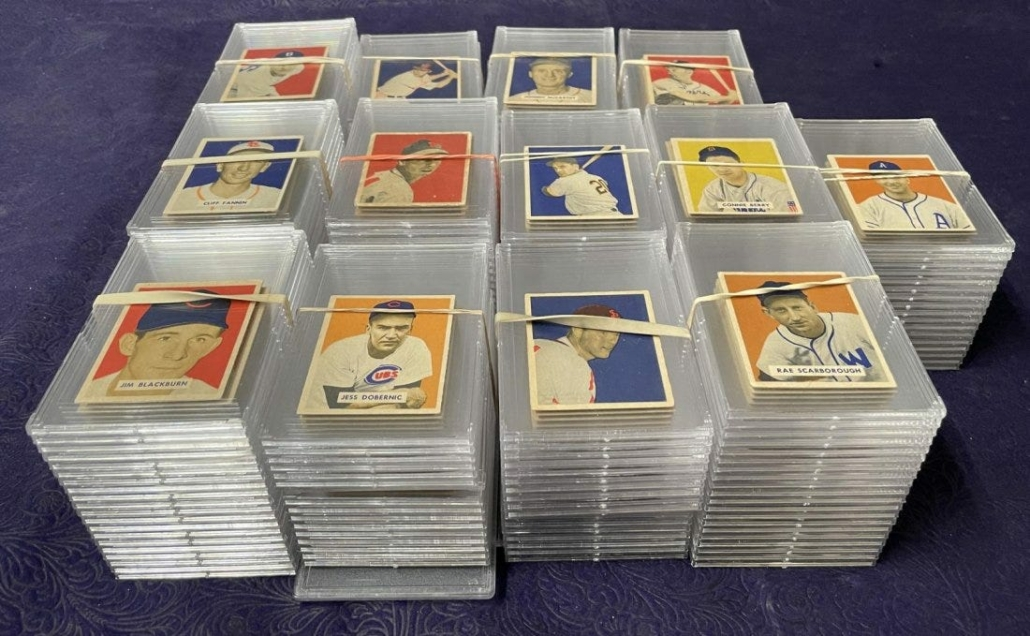 Near-complete set of Bowman baseball cards from 1949, which sold for $22,200