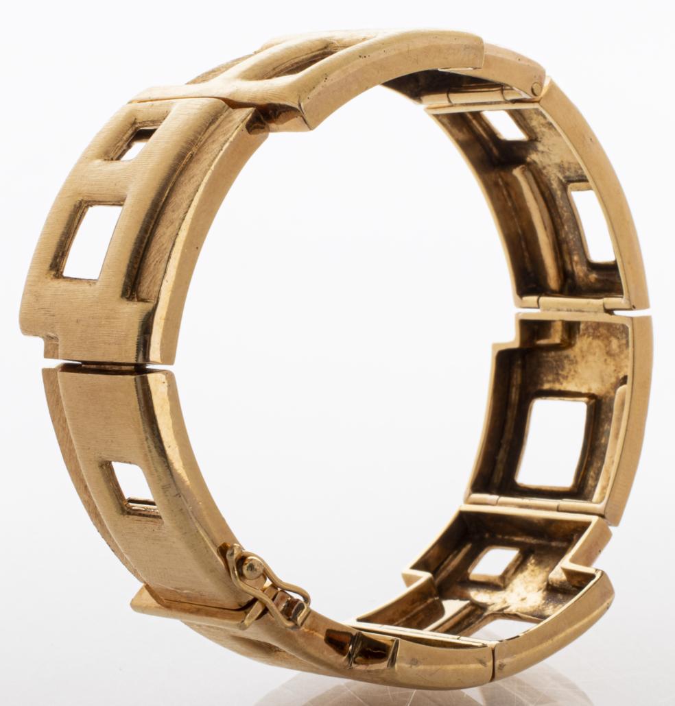Burle Marx 18K yellow gold hinge bracelet, estimated at $6,000-$8,000