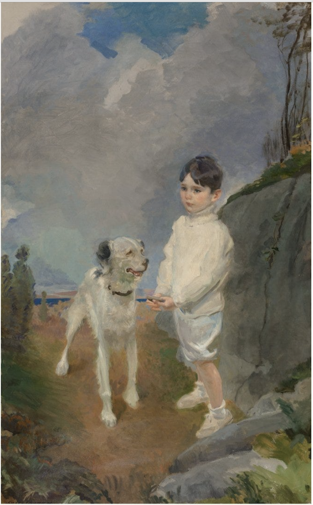 Cecilia Beaux's portrait, 'Lane Lovell and his Dog,' 1913-14, earned $11,500 plus the buyer's premium in July 2020 at Heritage Auctions.
