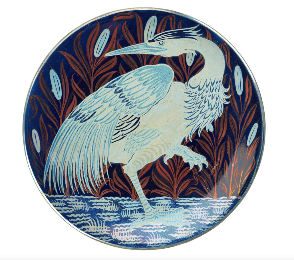 Charles Passenger for William de Morgan triple lustre dish from the Moonlight and Sunset Suite series, estimated at £4,000-£6,000.