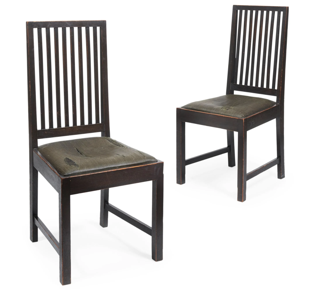 Charles Rennie Mackintosh oak dining chairs, estimated at £15,000-£20,000