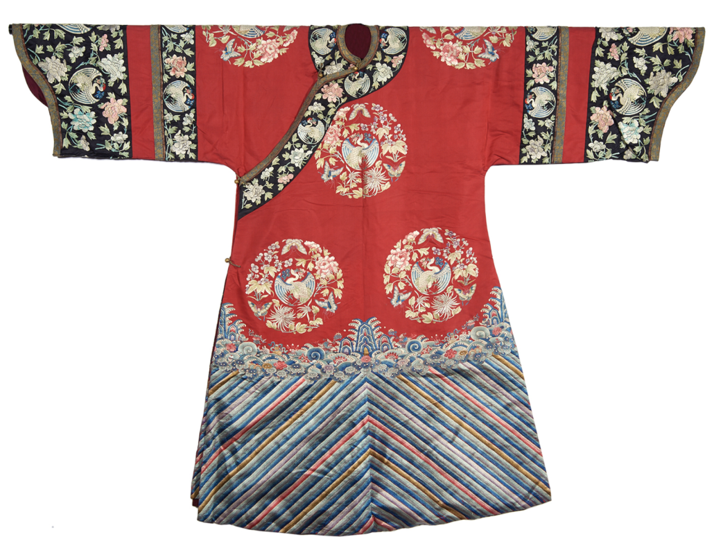 Chinese embroidered red lady's informal robe, estimated at $4,000-$6,000