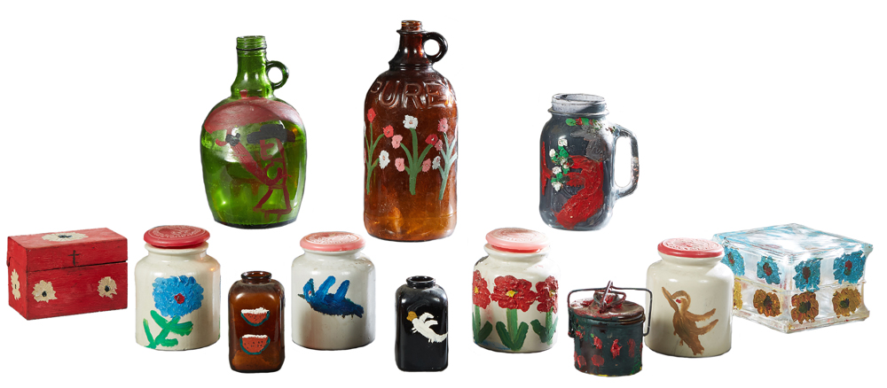 Clementine Hunter-painted folk art objects, estimated at $8,000-$12,000