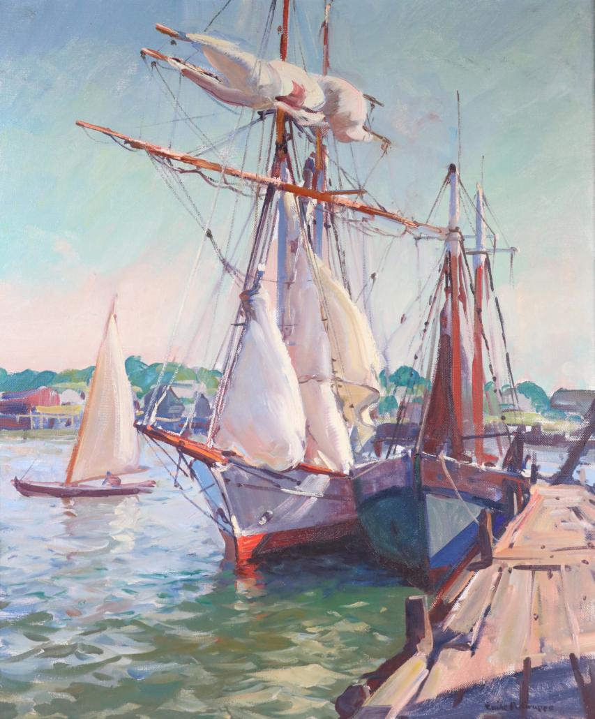 A maritime scene by Emile Gruppe