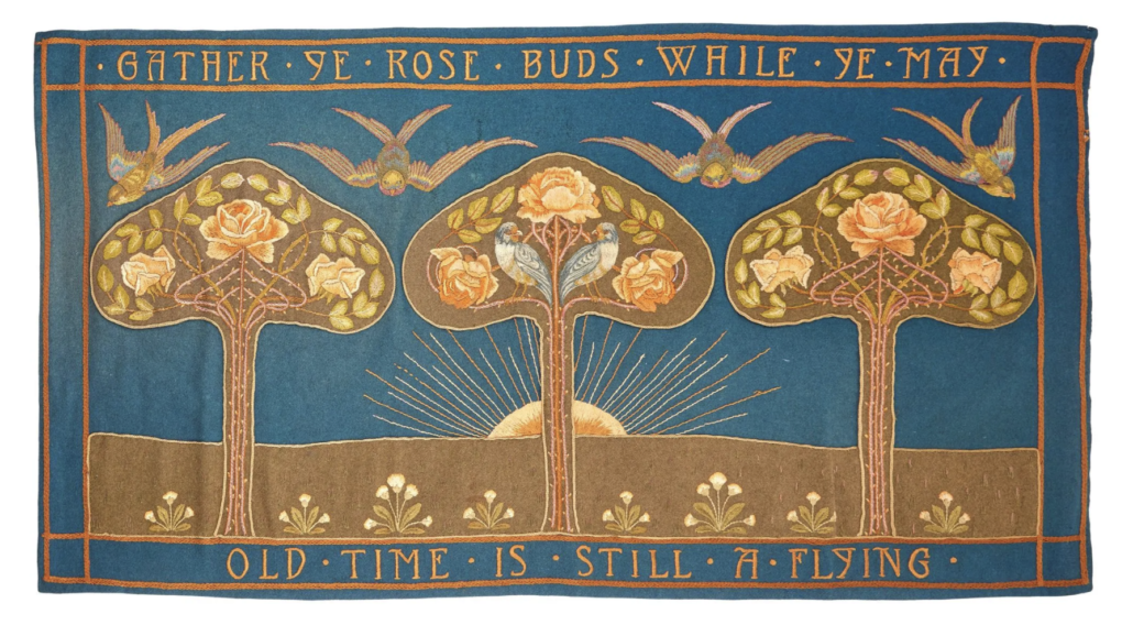 English school Arts & Crafts embroidered and appliqued textile, estimated at £1,500-£2,000
