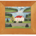 Circa 1960 painting on green board by Maud Lewis (Canadian, 1903-1970), estimated at $8,000-$12,000.