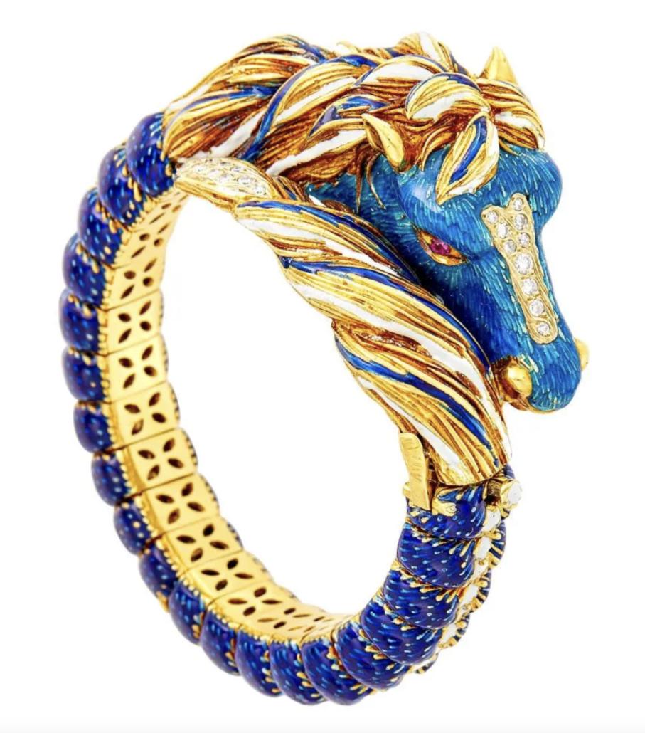 Frascarolo 18k gold, enamel, and diamond horse bangle, estimated at $8,000-$12,000