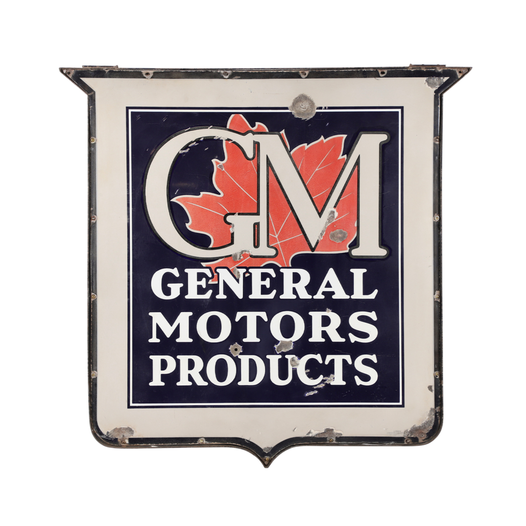 General Motors Products two-sided porcelain dealer sign from the 1940s, estimated at CA$3,000-$4,000