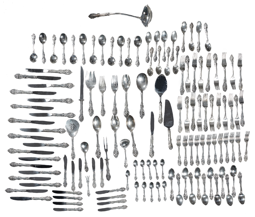 Gorham sterling silver flatware in the La Scala pattern, estimated at $2,500-$4,500