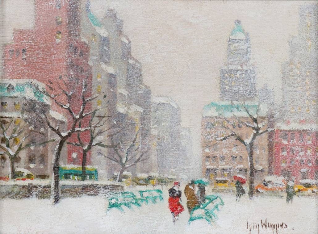 A winter view of Washington Square Park by Guy Wiggins