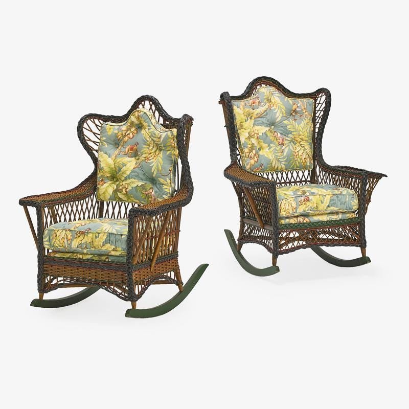 An associated pair of Heywood Wakefield (attributed) rattan rocker armchairs, circa 1915, brought $2,600 plus the buyer's premium in October 2019 at Rago Arts and Auction Center.