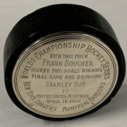 Hockey puck from the final 1928 Stanley Cup Game, which sold for $66,000