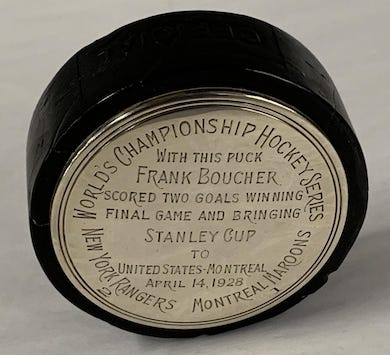 1928 Stanley Cup hockey puck scored $66K at Weiss Auctions
