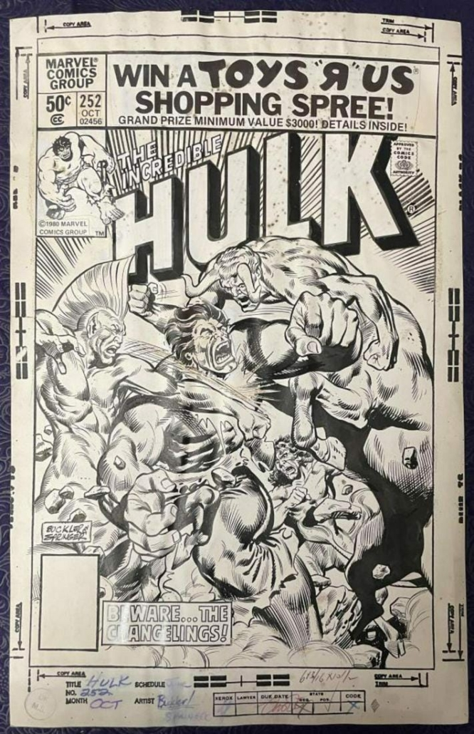 Original cover art for Marvel Comics' Hulk #252, which sold for $18,400