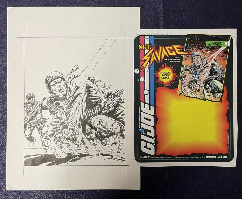 Joe Kubert package art for Hasbro's Sgt. Savage, including a script and ten originals, which sold for $19,200