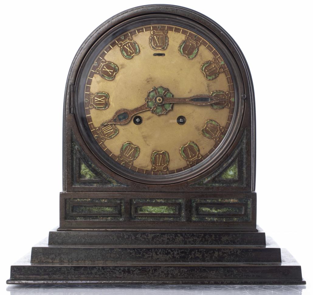 Tiffany Studios Furnaces bronze and enamel mantel clock, estimated at $6,000-$8,000
