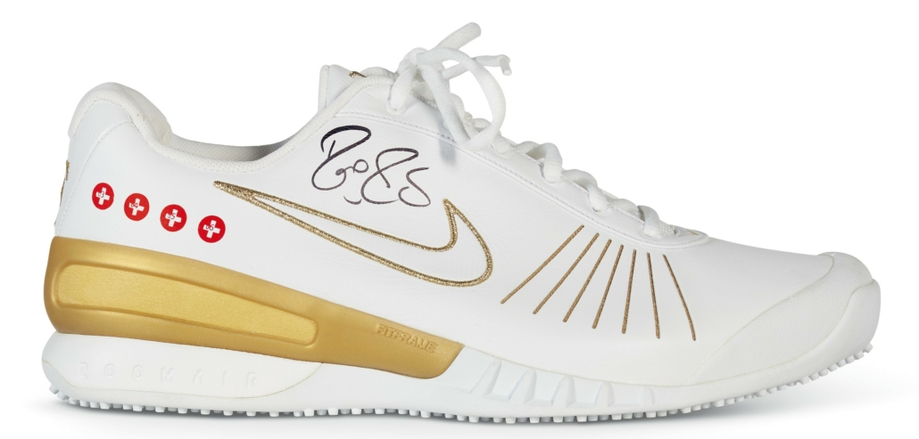 Tournament shoes Federer wore when facing Rafael Nadal in 2007 at Wimbledon, which feature Swiss flags denoting the years of his previous Wimbledon victories
