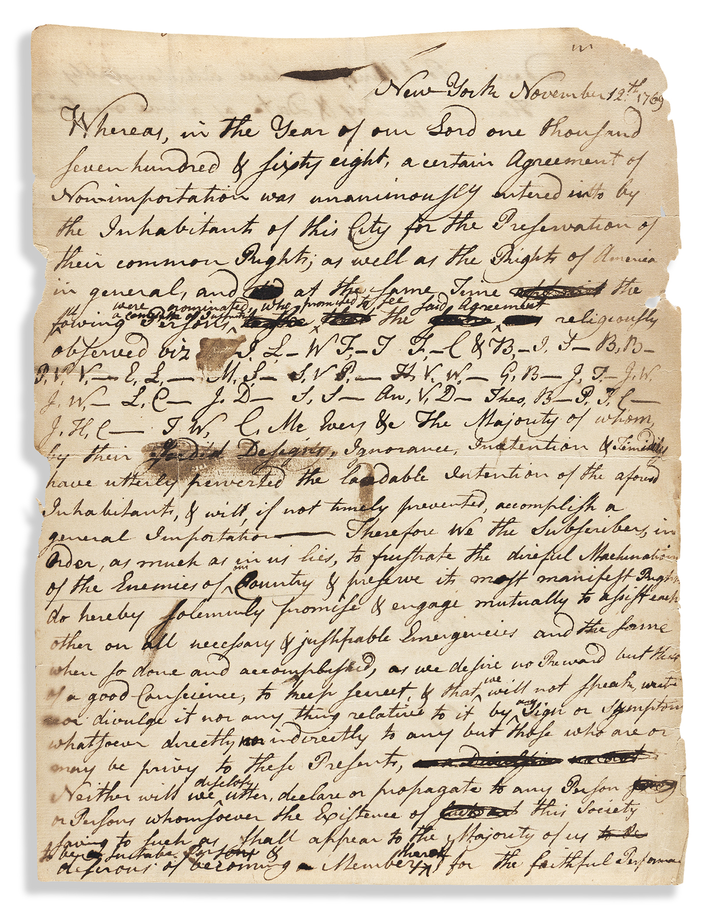 A manuscript document to enforce New York's Agreement of Non-Importation during the heyday of the Sons of Liberty in New York, 1769, estimated at $10,000-$15,000