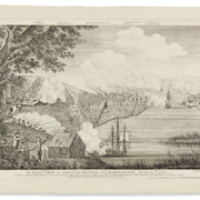 A 1776 engraving of the Late Battle at Charlestown on June 17, 1775, by Bernard Romans, estimated at $40,000-$60,000