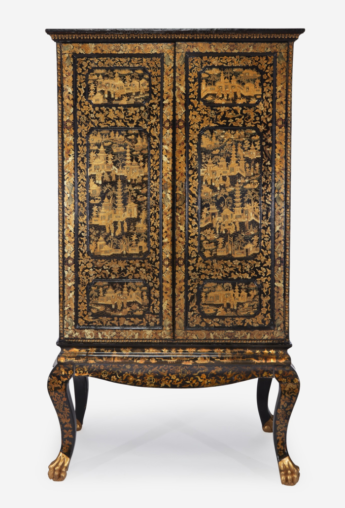 Chinese Export black lacquered cabinet, which sold for $11,340