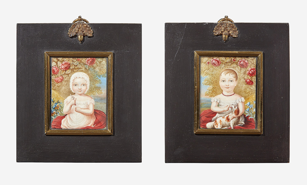 Miniature portraits by William Owen, which together sold for $2,772