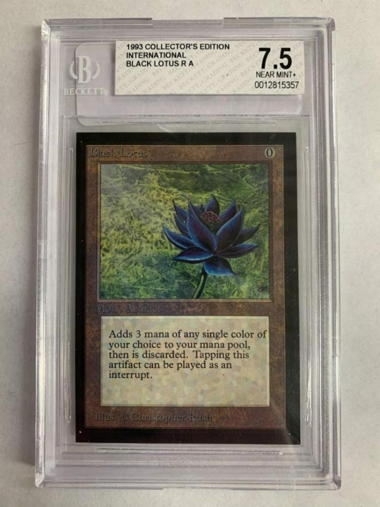 Complete international set of Magic: The Gathering cards, which sold for $20,400