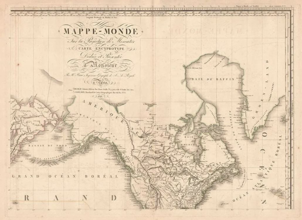 Four-sheet 1816 Mercator projection map, estimated at $2,500-$3,000
