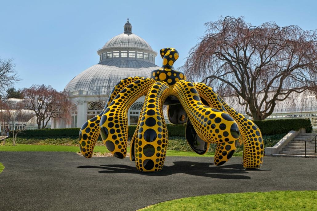 'Dancing Pumpkin,' 2020, installed at the New York Botanical Garden, collection of Yayoi Kusama.