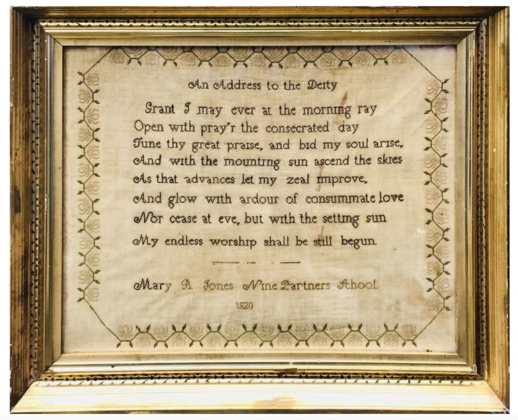 Nine Partners School Quaker sampler from 1820