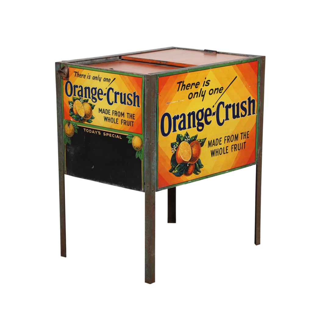 Canadian Orange Crush steel and wood store soda cooler from the 1920s, estimated at CA$4,000-$6,000