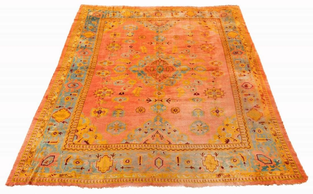 Turkish handwoven Oushak room-size area rug, which sold for $6,200