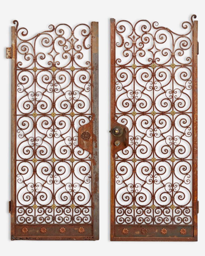 Pair of wrought iron garden gates, sold for $6,250