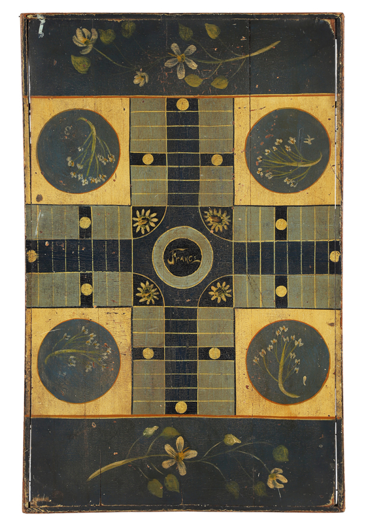 Two-sided parcheesi and checkerboard game, which sold for CAD $9,440