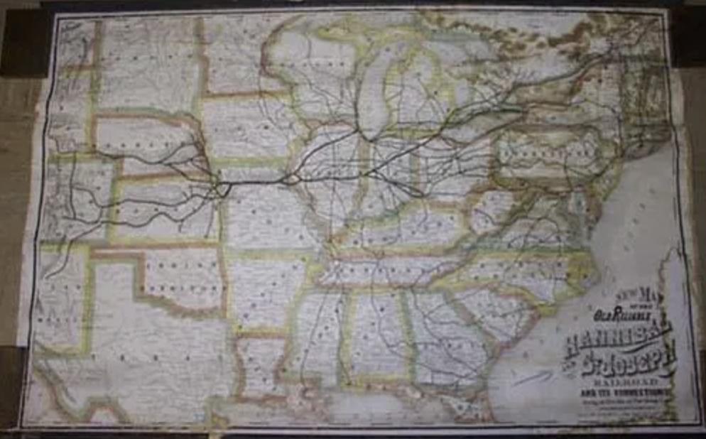 Rand McNally circa 1877 railroad map, estimated at $3,000-$3,500