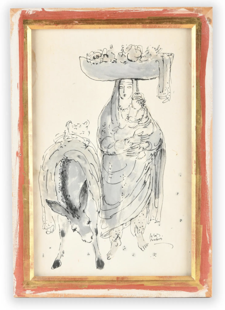 An ink wash painting by Reuven Rubin, estimated at $1,800-$2,500
