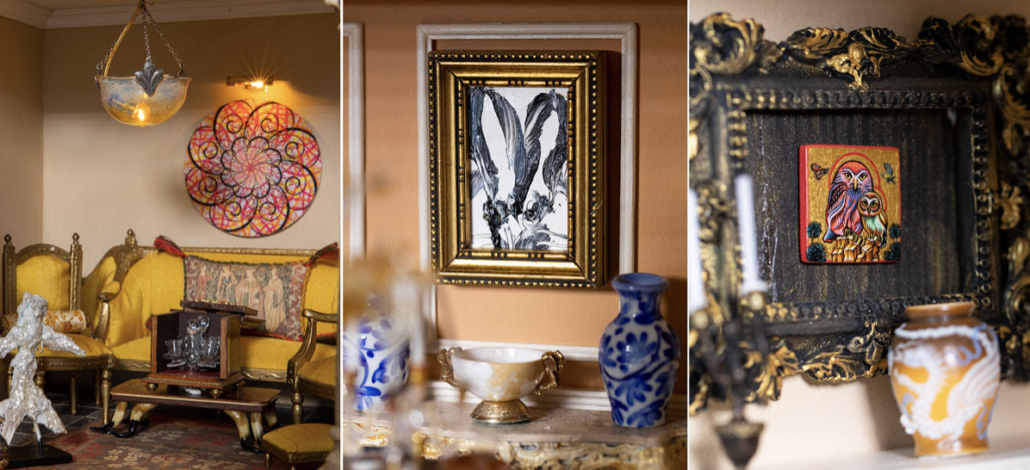 Select miniature artworks created for the exhibit by Ryan McGinness, Hunt Slonum, and Peter Gerakaris.