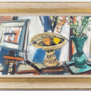 A still life by Sigmund Menkes, depicting a raised dish with fruits and a vase with flowers