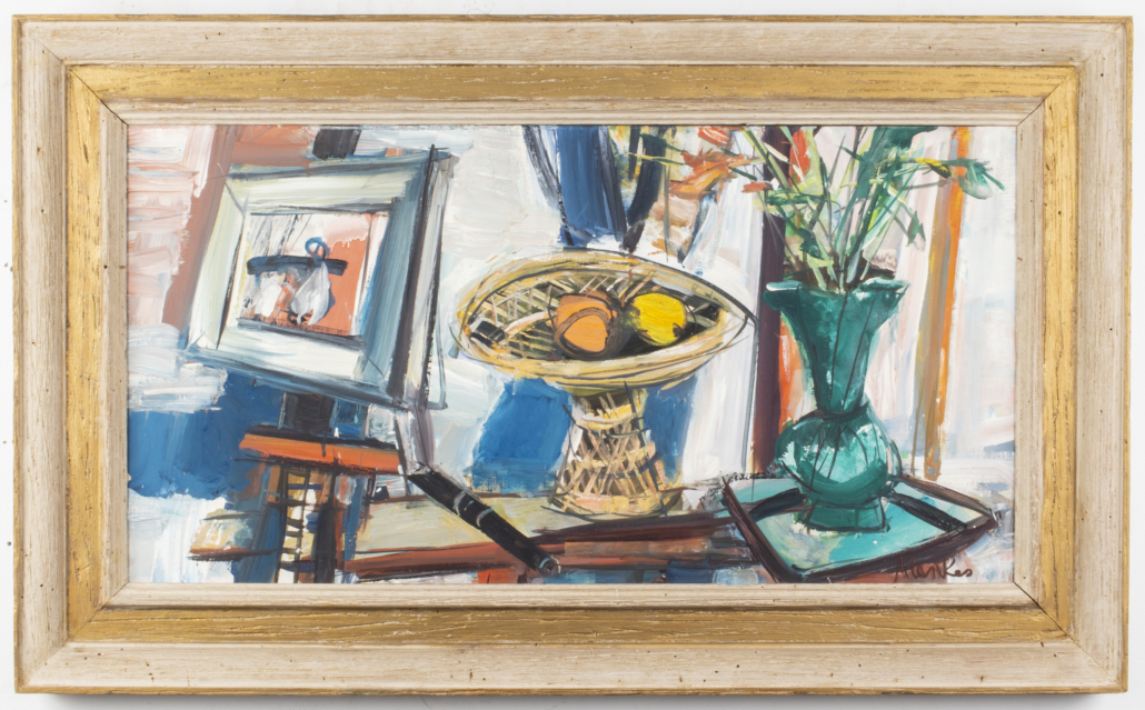 a still life by Zygmunt Menkes, aka Sigmund Menkes, depicting a raised dish with fruits and a vase with flowers