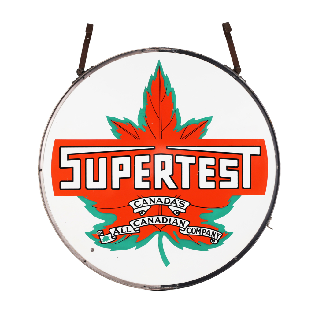 Canadian Supertest Service Station double-sided porcelain hanging sign, estimated at CA$6,000-$8,000