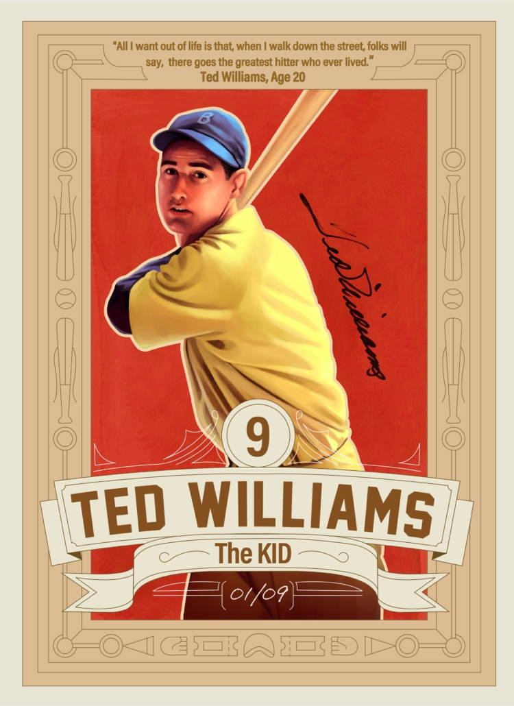 One of nine Ted Williams baseball cards, rendered by Andre Maciel, aka 'Black Madre', to be auctioned as NFTs (non-fungible tokens).