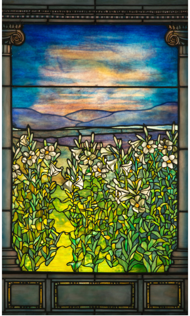 Tiffany Studios leaded glass Lily window, which could command $100,000-$150,000