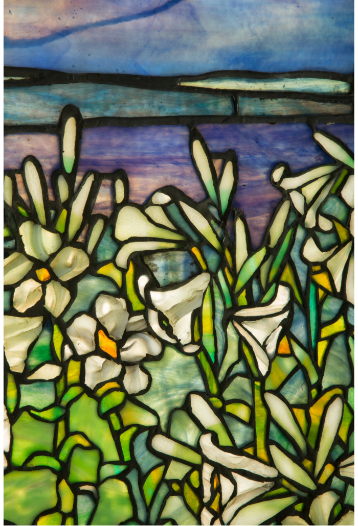 Detail of the Tiffany Studios leaded glass Lily window, which dates to circa 1900