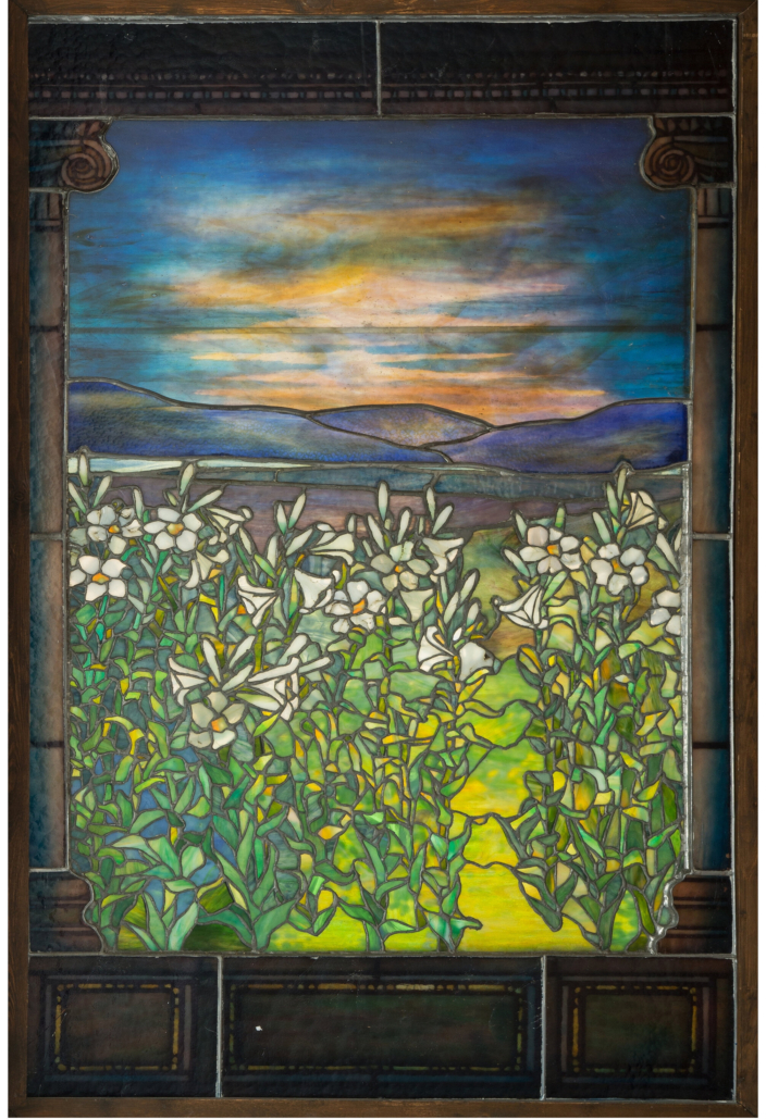 Another view of the Tiffany leaded glass Lily window, which measures more than four feet high