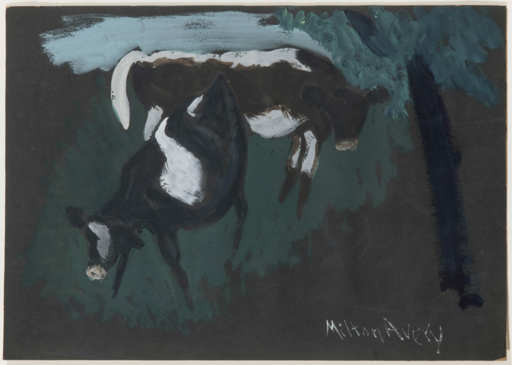Milton Avery, Two Cows, 1932. Gouache on colored paper. 12 x 17 inches. The Milton and Sally Avery Arts Foundation, Inc. © 2021 The Milton Avery Trust / Artists Rights Society (ARS), New York