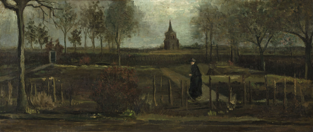Van Gogh's 'The Parsonage Garden at Nuenen in Spring 1884', which was stolen from a museum in the Netherlands in March 2020.